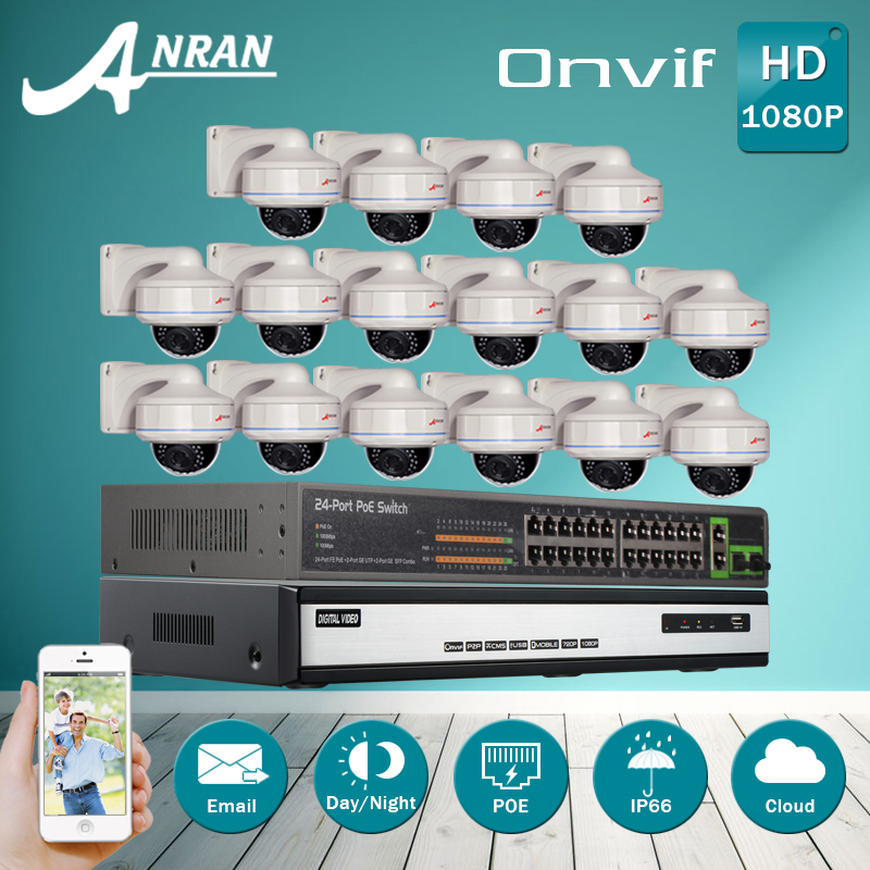 24CH POE Switch 16CH H.264 NVR Video Security CCTV System 6TB HDD 1080P 2MP Outdoor Vandalproof Dome IR Network POE IP Camera