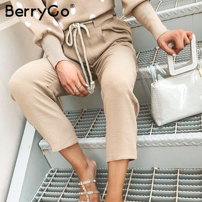 BerryGo Casual khaki string harem   pants   women Lace up pleated pocket female   pants     capris   Streetwear sashes loose plus size   pants