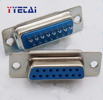 5PCS Wire Bonding DB15 Serial Port Hole Holder Wire Type 15 Needle Plug Double Row Blue Connector DD image