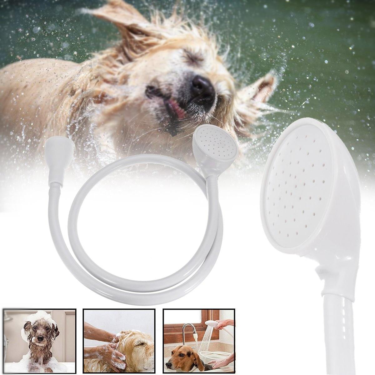 White Tap Shower Spray Hose Bath Tub Sink Spray Attachment Head Pet Washing