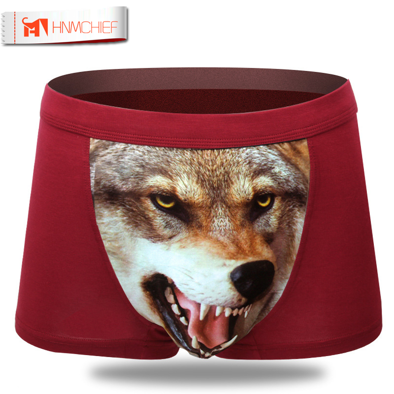 2017 Panties Men 3D Boxer Shorts Underwear Plus Size Modal Men Underwears Wolf Boxer Cotton Sexy Underwear Male Brand Underpants