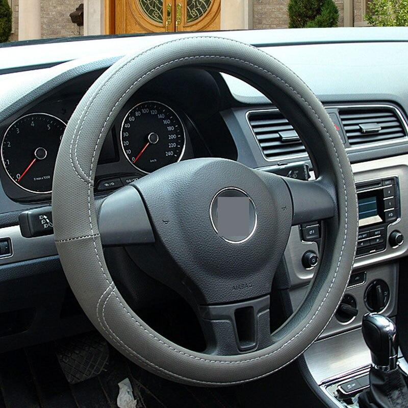 Universal coche cubierta del volante del coche de alta calidad de cuero de la PU suave antideslizante para 38 CM Auto del coche- rueda de Protector