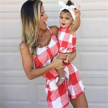 Одежда для мамы и дочки платье 2019 летний Повседневный клетчатый