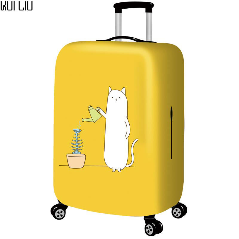 Thickened Luggages Protective Cover Trolley Cases Waterproof Elastic Suitcases Bag Dust Rain Covers Yellow Cartoon Print Fish