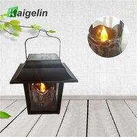 Kaigelin Solar LED Path Lamp Archaistic Antique Candle Lights Yard Lawn LED Solar Portable Retro Lantern