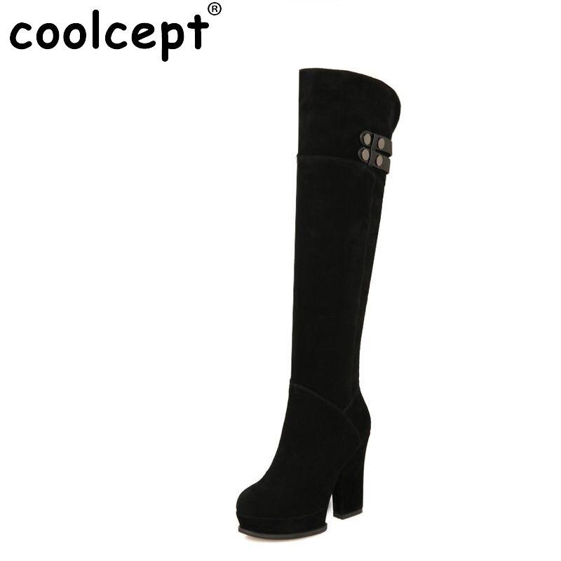 ФОТО ladies real genuine leather high heel over knee boots women long boot winter botas brand footwear heels shoes R7348 size 34-39