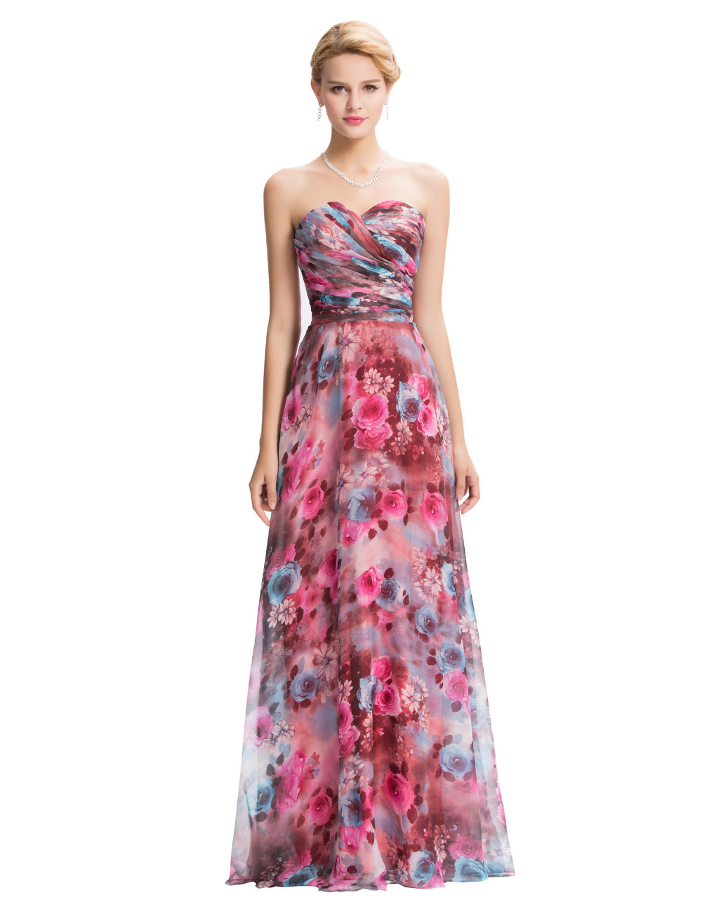 Grace Karin Floral Print Long Evening Dress 2016 Double V Neck ... 1cedd5d2f503