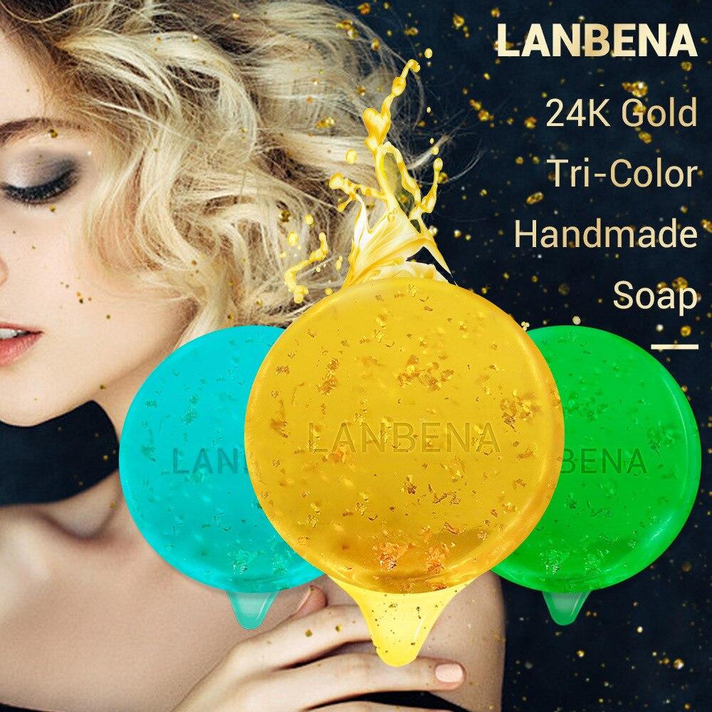LANBENA 24K Gold Handmade Soap Hyaluronic Acid+Seaweed+Tea Tree Facial Cleansing Moisturizing Anti-Aging Whitening Face TSLM1