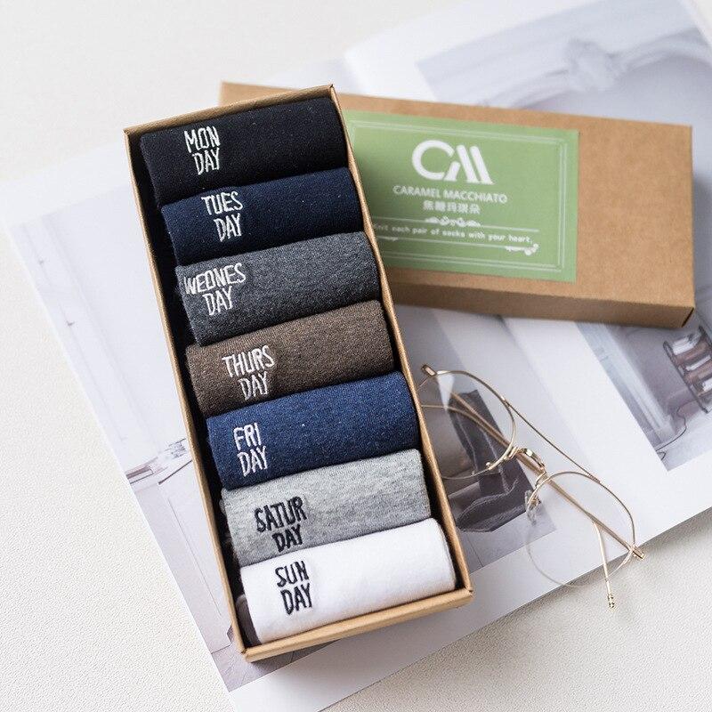 men   socks   7 pairs new autumn gift box men week   socks   long men's fashion thick warm cotton color   socks   funny
