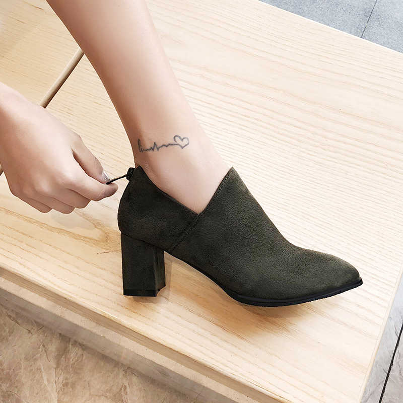 WETKISS Sexy Solid Women Ankle Boots Pointed Toe Thick Heel Shoes Simple Zipper Bootie Female Casual Fashion Non Slip Boots
