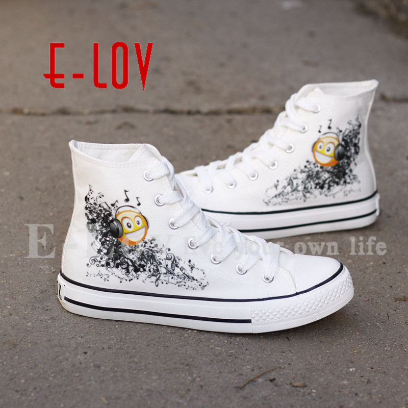 E-LOV Funny Printed White Canvas Shoes High Top Casual Lace-up Shoe For Women Custom Graffiti Shoes e lov new arrival hand drawing women canvas shoes adults unisex flats casual shoe dream graffiti painted espadrilles