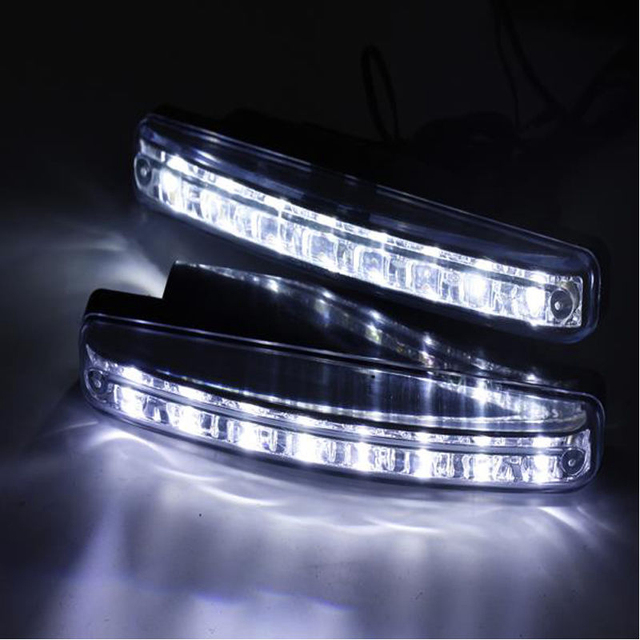 1 Piece Car Styling White Universal 12V Car 8 LED DRL Driving Daytime Running Day LED Light Head Lamp Super Off Light Features