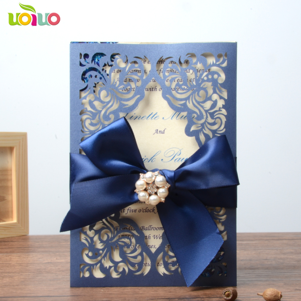 Us 7 6 Royal Blue Wedding Invitation Card Paper Wedding Cards 2018 In Cards Invitations From Home Garden On Aliexpress