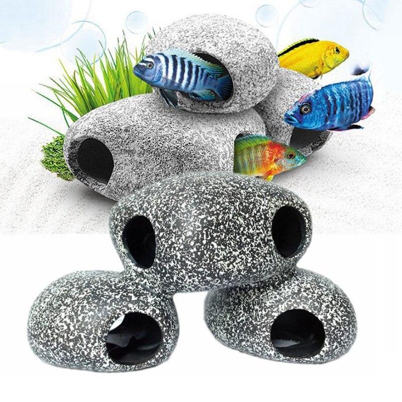Cíclidos Piedra Roca Cueva acuario peces tanque ornamento de cría de camarón Decoraciones