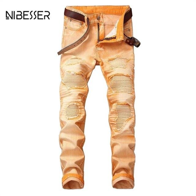 e98dafae7e NIBESSER Jeans hombres reparado agobiados Jeans hombre recto Pantalones  Slim agujero rasgado Denim Jeans Casual hombres