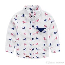 2016 Sweet Kids Boys Birds Print Cotton Shirts Blue and Pink Color Design Blouse Casual Tees