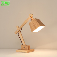 בעל מנורת E27 מנורת שולחן עץ מודרני מתיחה 110-240 V מחקר חדר שינה מבואה מקורה תאורת שולחן עבודה שולחן ליד המיטה אורות