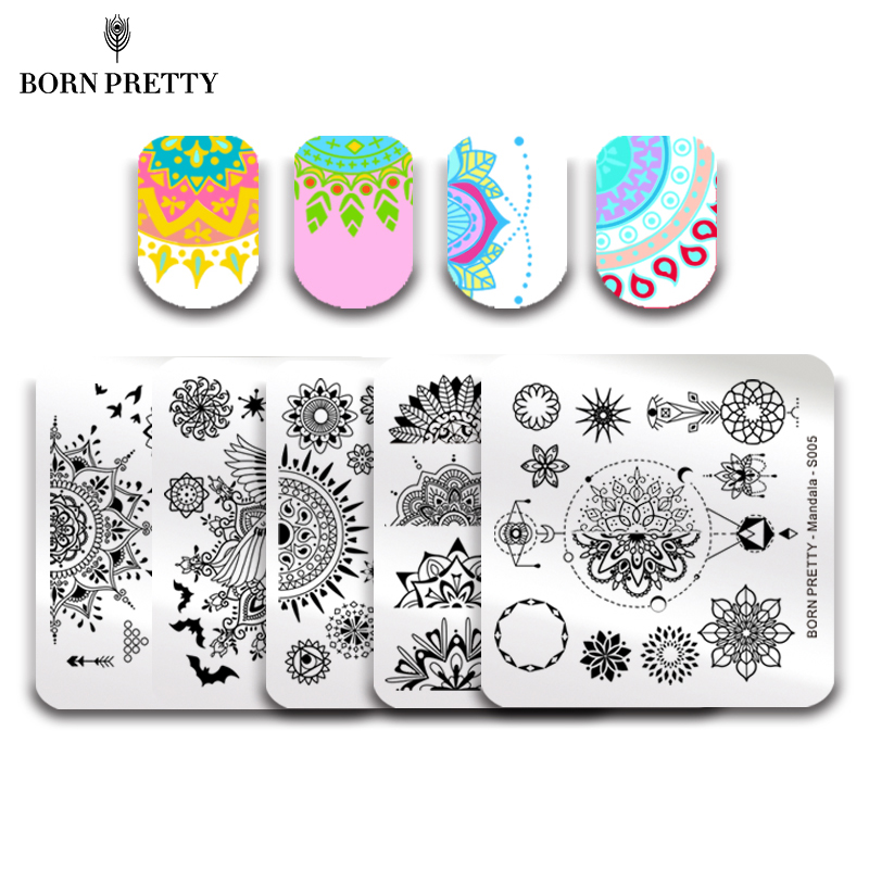 BORN PRETTY 5 Pcs Mandala Series Nail Stamping Plate Floral Butterfly Pattern Template Square Manicure Nail Art Image Plate Set