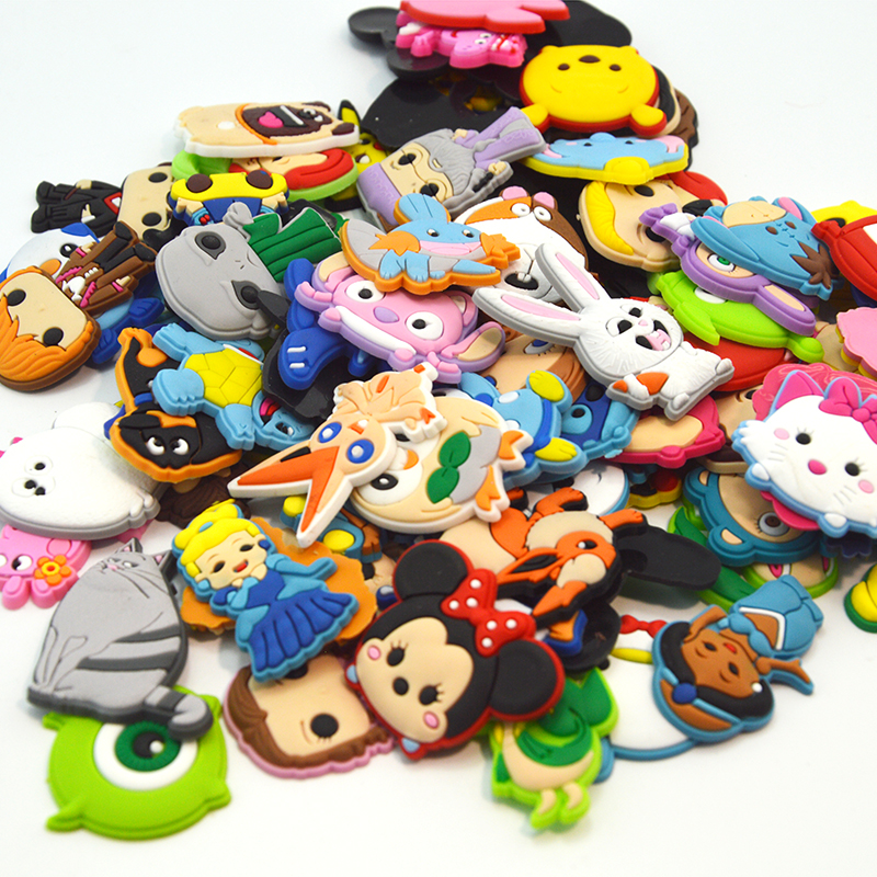 500pcs/lot Mixed Random Shoe Charms Cartoon PVC Figure Shoe Accessories Croc Decorations JIBZ Shoe Buckles Kids Xmas Gift