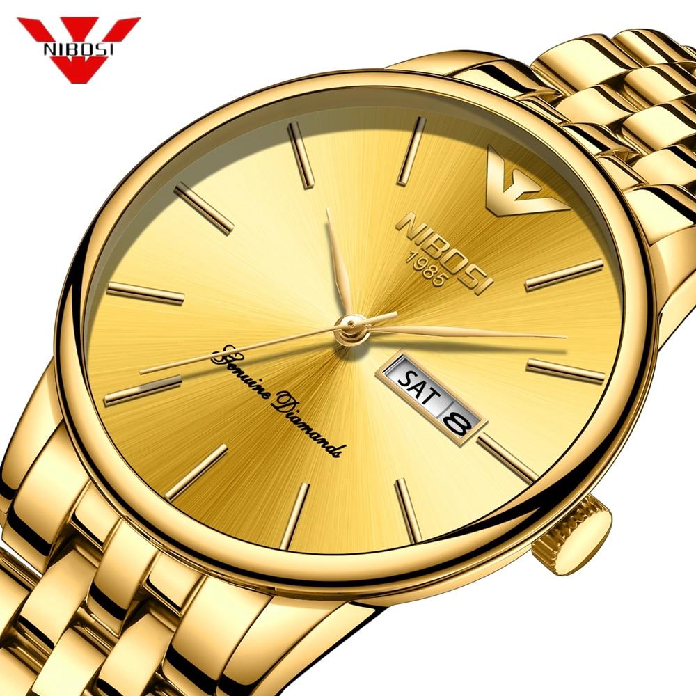 Nibosi Mens 시계 Meskie 럭셔리 방수 비즈니스 손목 시계 남자 간단한 클래식 제네바 디자인 골드 시계 Relogio Masculino