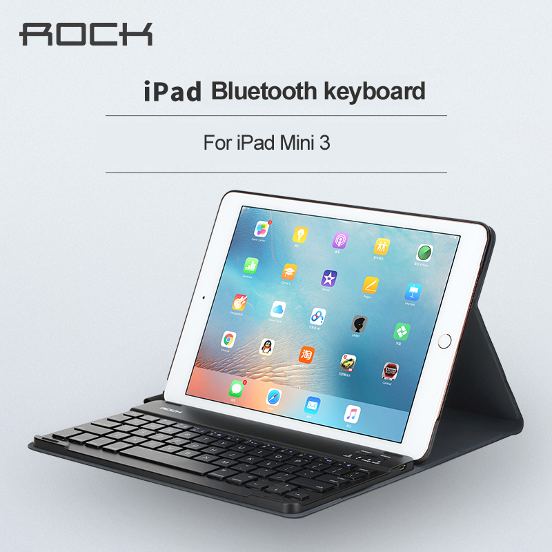 ФОТО Rock for ipad mini 123 Bluetooth Keyboard leather case Ultra-thin Protective black Leather Case Cover for ipad mini 1 2 3