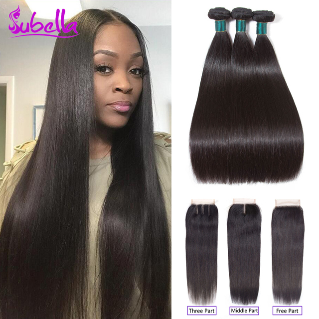 Subella Indian Hair Straight Hair Bundles With Closure Indian Hair
