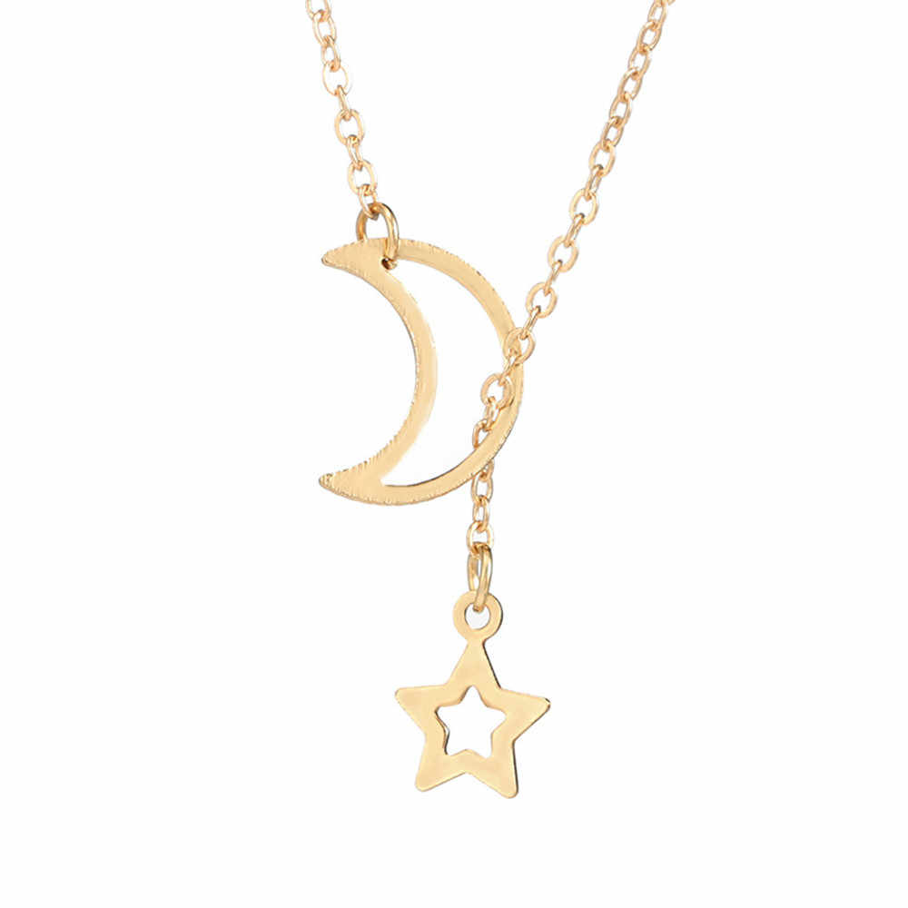 Stilvolle Anhänger Halskette Frauen Halsketten Kette Damen Schmuck Gold Mond Choker Anhänger Paar Collares De Moda 2019 Geschenke L0704