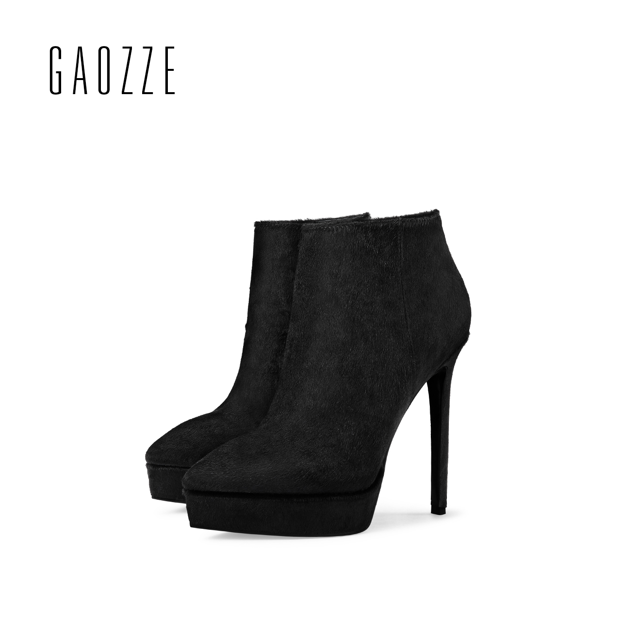 GAOZZE high heel ankle boots for women 2017 autumn new black leather ankle boots side zipper fashion pointed platform ankle boot