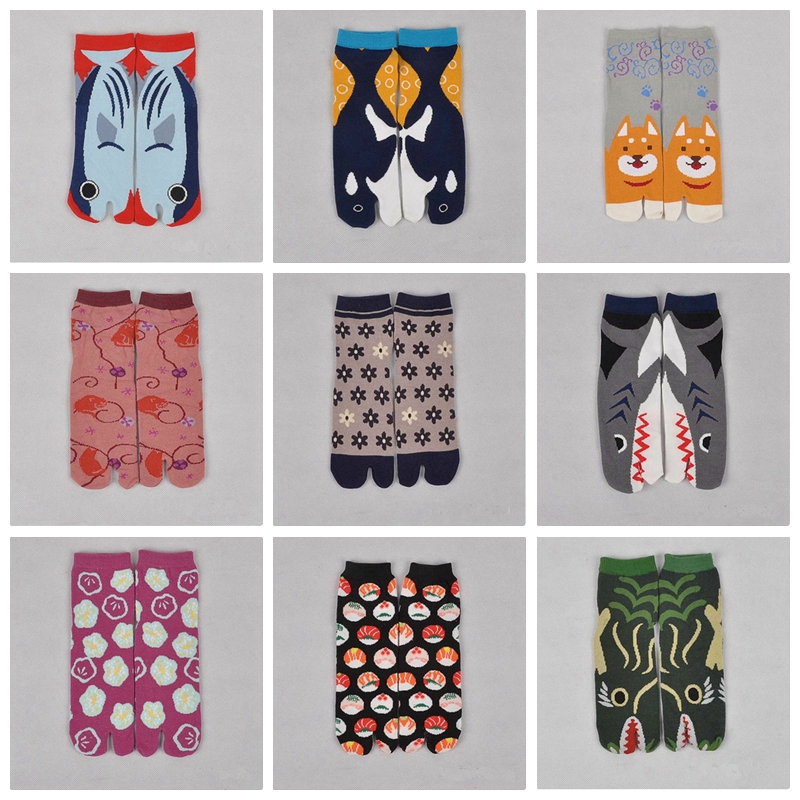 Hot Split Toe Sandal Short Socks Geta Kimono Flip Flop Wave Sakura