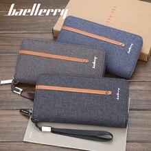 New Fashion slim minimalist Multi card bit phone zipper men long wallet Canvas purse high quality 2019 vintage money thin clutch