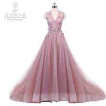Foto Real Blush Paux Ilusão V Neck Corpete longo vestido de festa com Floral Apliques A linha Tulle Flores Prom vestido