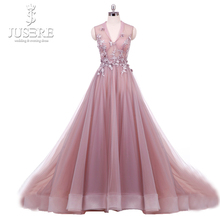 Real Photo Blush vestido longo de festa Paux V Neck Illusion Bodice with Floral Appliques A line Tulle Flowers Prom Dress