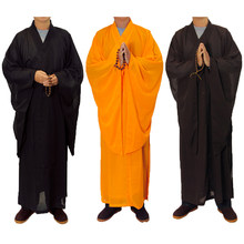 3 Colors Zen Buddhist Robe Lay Monk Meditation Gown Monk Training Uniform Suit Lay Buddhist Clothes Set(China)