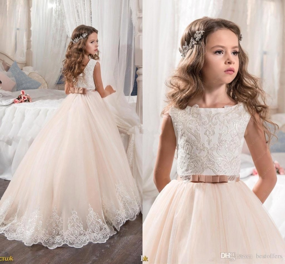 Princess Floor Length Tulle Champagne   Flower     Girl     Dresses   2019 Lace   Girls   Pageant   Dress   Wedding Birthday Party Gown