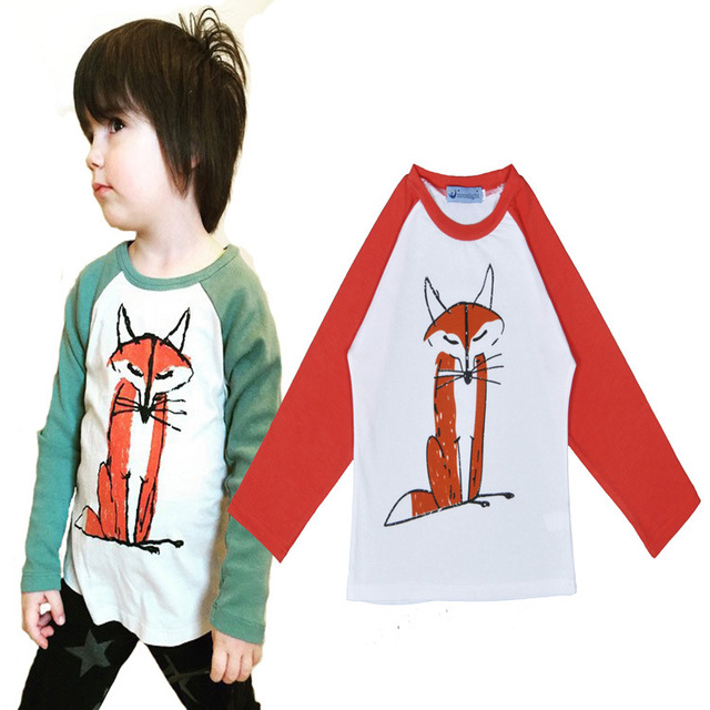 New 2016 Cotton Long Sleeve Children T Shirts Girls Boys Fox Print Kikikids Baby Clothing Vetement Garcon Brand