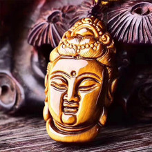 купить Natural Yellow Tiger Eye stone Pendant Hand-carved Guanyin Pendant Lucky Buddha Pendant Necklace Women Men Amulet Jades Jewelry дешево