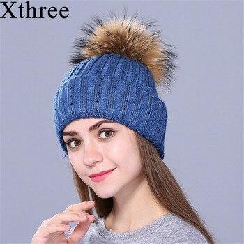 Xthree nuevo Rhinestone bordado sombrero de punto de lana de invierno para  las mujeres Beanie Skullie caliente Cap Real piel Pom Gorro casquillo hembra ac3bdc043ba