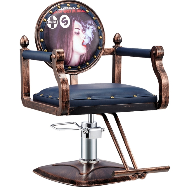 Beauty Pattern Retro PU Iron Barber Chair Hydraulic Chair Manicure Stool  Soft Cushion Safety Certificate Gas