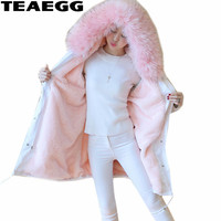 TEAEGG Thick Winter Jacket Woman Warm Faux Fur Collar Women's Coats Chaquetas Invierno Mujer Plus Size Parka Women Jackets AL593
