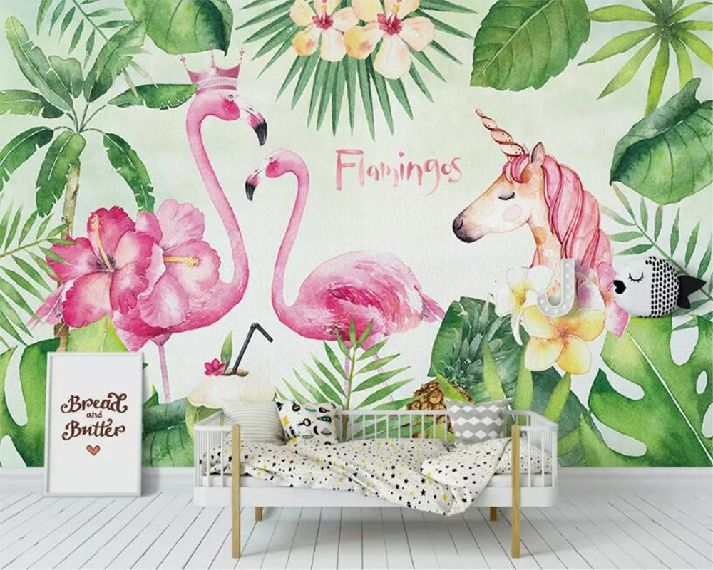 beibehang Custom photo wallpaper hand-painted green plant forest landscape flamingo unicorn Children's room wall 3d wallpaper