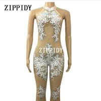 Perspective Sexy Lace Shining Rhinestones Jumpsuit Nightclub Flashing Outfit Female Singer Birthday Prom Party Celebrate Costume
