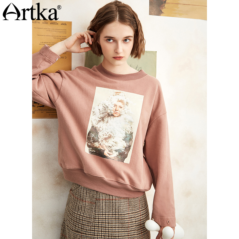 ARTKA 2018 Female Autumn Cotton Printed Character Hoodies Women Loose Long Sleeve O neck Pullover All