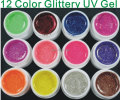 12 Color NAIL ART GLITTERY GLITTER UV GEL Builder Polish Set Tips deco