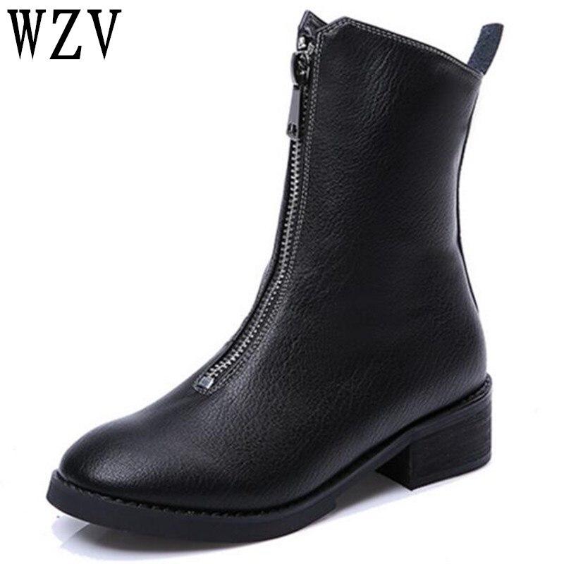 Nouveau 2018 Automne Hiver En Cuir Véritable Chaussures Femmes Plat Bottes de Mode avant fermeture à glissière Femmes Bottes Femme Cheville Botas D079