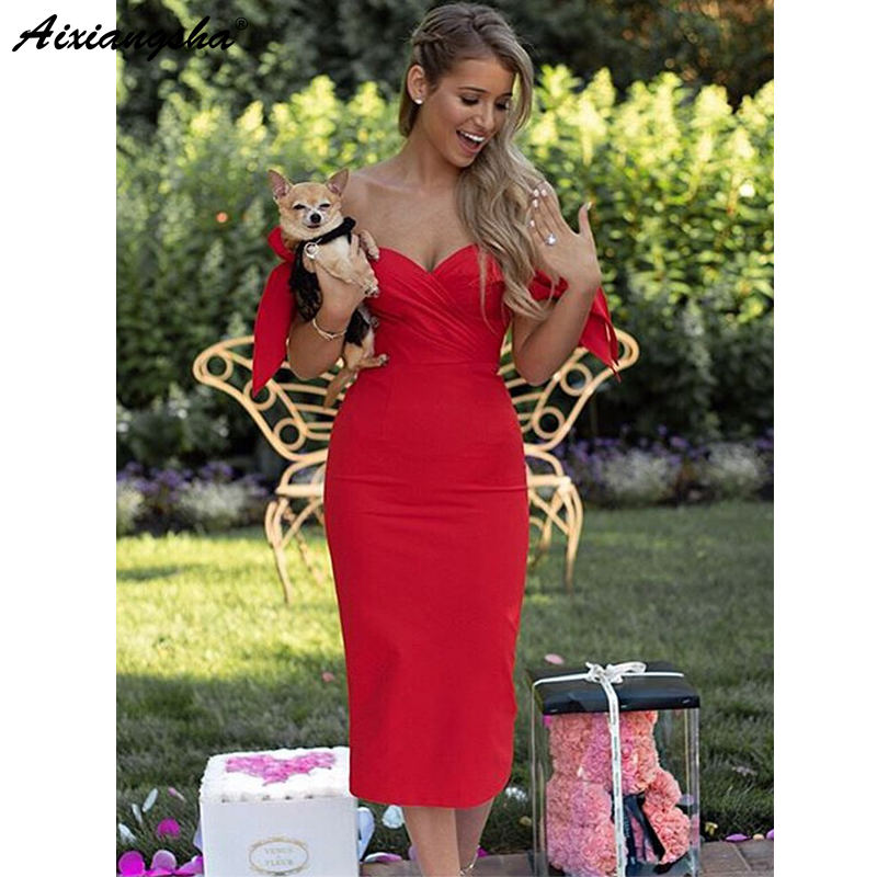 Red 2018 Elegant Cocktail Dresses Sweetheart Sheath Knee Length Party Prom Dress With Bow Plus Size Homecoming Dresses