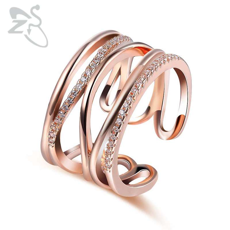 Interlocking Wedding Rings.Us 3 5 26 Off Zs Interlocking Rings For Women Wedding Sets Cz Zircon Anillos Engagement Rings For Women Fashion Jewelry Rose Gold Color Rings In