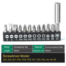 цена на 12 in 1 Screwdriver Bit Set SL PH PZ Hex Bits with Socket Adapter Holder Extension Bar for Home Appliances Repair Tool Set
