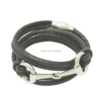 High Quality Black Color Leather Bracelets For Woman