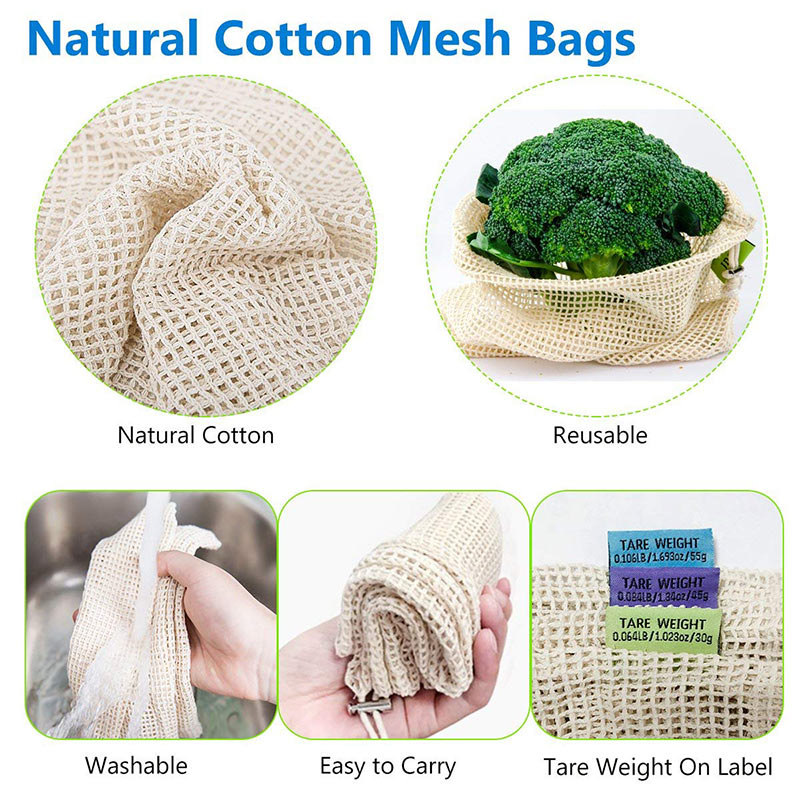 Image 4 - Reusable Cotton Vegetable Bags Home Kitchen Fruit And Vegetable Storage Mesh Bags With Drawstring Machine Washable-in Bags & Baskets from Home & Garden