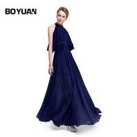 Boyuan 2017 Brand Summer Dress Women Long Dress Beach Dress Woman Summer 2017 New Chiffon Sleeveless